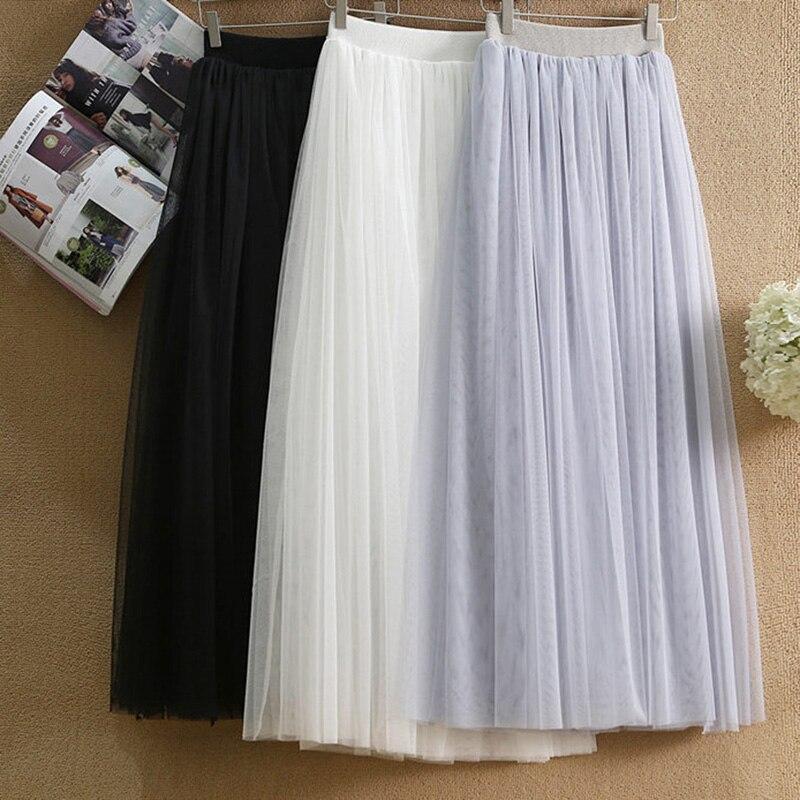 Лидер продаж, женские сетчатые юбки с подкладкой, женские эластичные фатиновые юбки с высокой талией, модная длинная Плиссированная