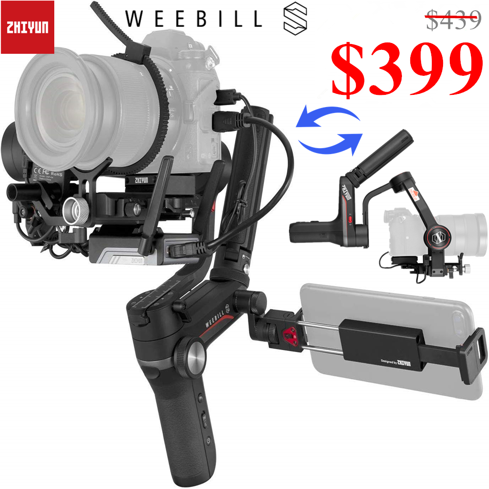 Zhiyun Weebill S 3-Axis Handheld Gimbal Stabilizer For DSLR & Mirrorless Camera Sony Nikon Z6 Panasonic S1 GH5s With 24-70mm GM