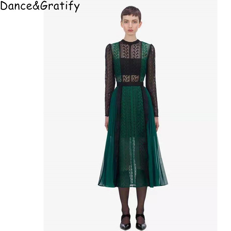 Autumn Vintage Green Hollow Out Midi Dress Sext See Through Lace Patchwork Pleated Dress Self Portrait Party Dress