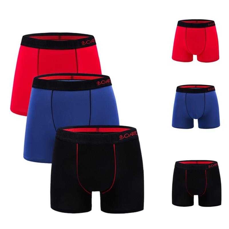 Mens Underwear Boxers 3pcs/lot Male Panties Cotton Boxershorts Men Solid Underpants Comfortable Brand Shorts