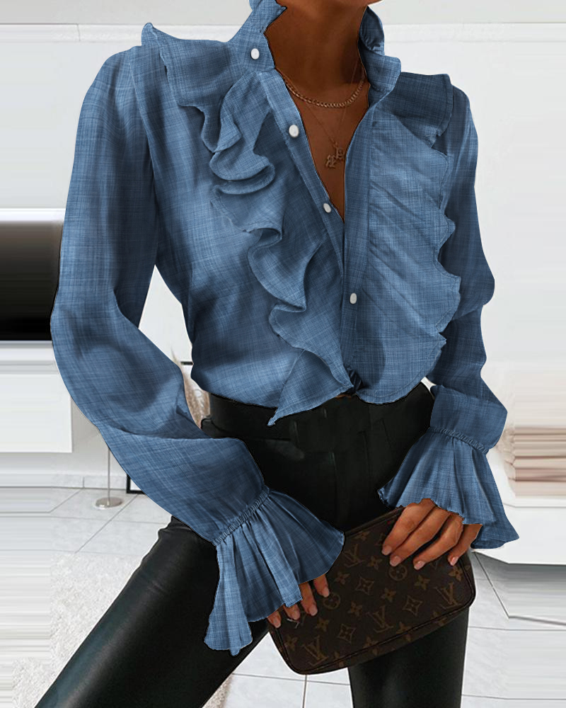 Women Fashion Spring Summer Flare Sleve Casual Shirts Long Sleeve Tops Ruffles Design Blouse