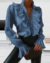 Женская модная весенне летняя блузка с расклешенными рукавами