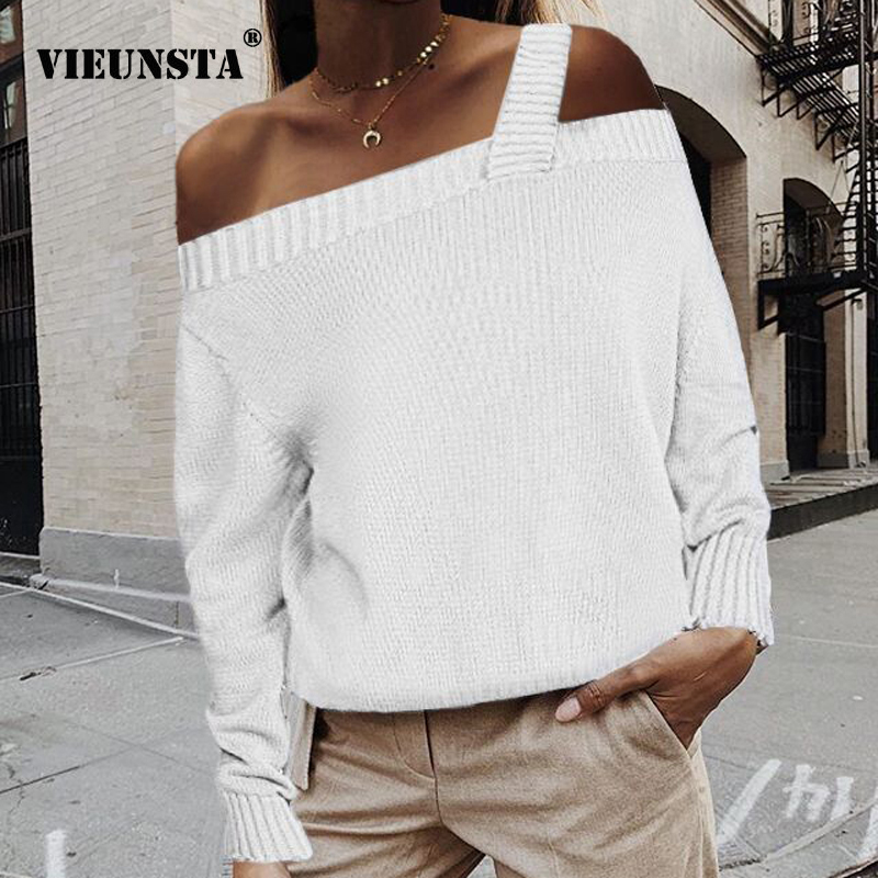 Sexy Off Shoulder Straps Knitted Sweater Winter Autumn Long Sleeve Women Sweaters And Pullovers Elegant Ladies Tops Dropshipping