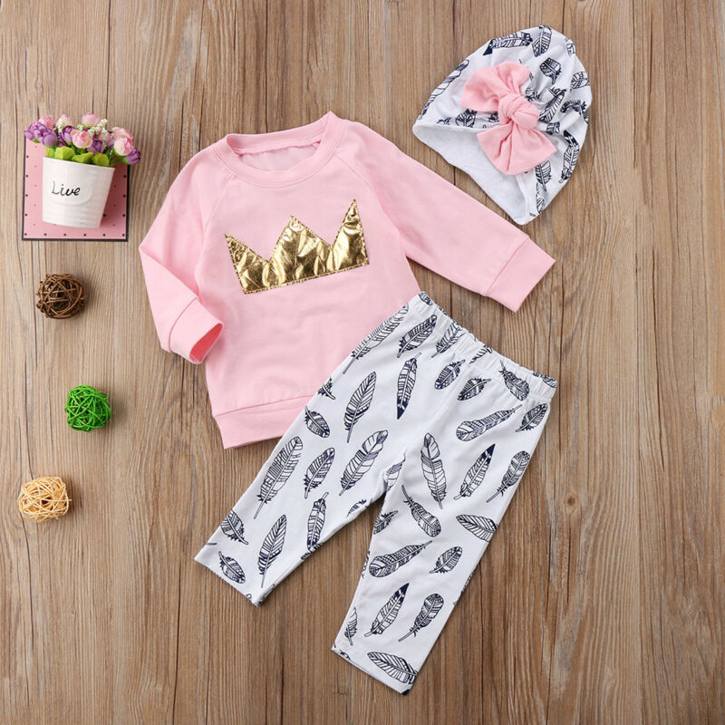 Newborn Kids Baby Girl Crown Tops Sweatshirt Pants Trousers 3PCS Outfits Clothes image