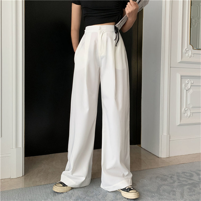 HziriP Hot Selling Autumn White High Waist Slender New High Quality Streetwear Suit Full-Length Large Size Wide Leg Trousers