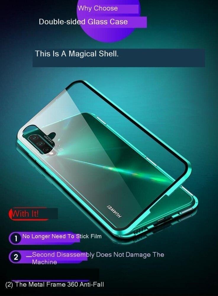 20 Metal Magnetic Case For Huawei Nova 5 Pro Mate 20 Double Sided 9H Tempered Glass Case On Nova 5 5i Honor 20 P30 Lite full Cover (3)