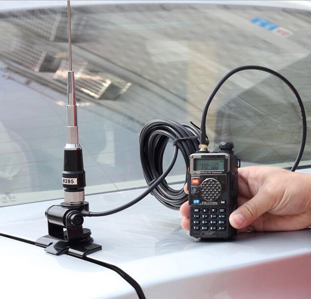 Antena de rádio em dois sentidos uv do rádio amador do carro da antena 145/435m do chicote dos suportes de rádio móveis da faixa dupla