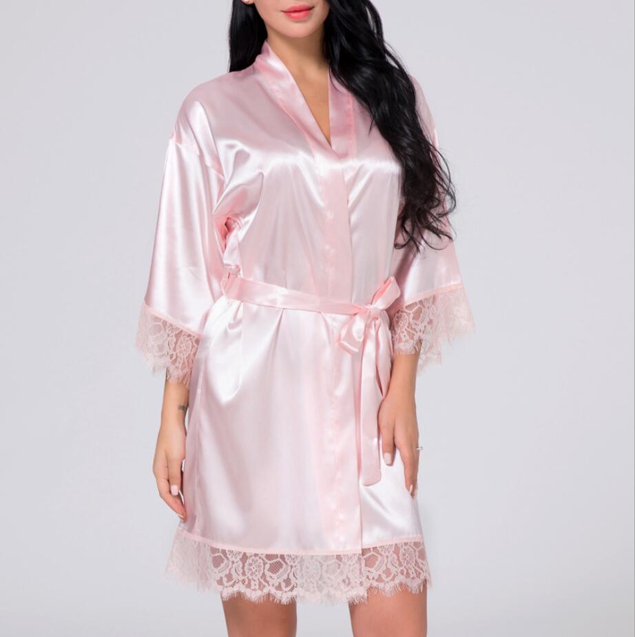 Vêtements de nuit peignoir femme mariage mariée Robe de demoiselle d'honneur Satin rayonne peignoir chemise de nuit pour femmes Kimono vêtements de nuit 8 couleur - 6