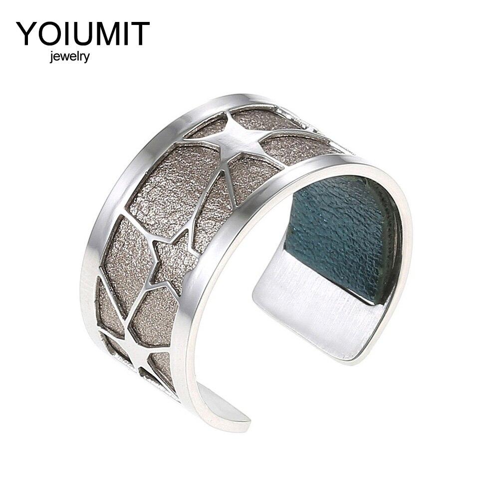 Cremo Argent Open Star anéis de aço inoxidável anéis de prata Para As Mulheres Bijoux homme Yoiumit Bague Femme De Couro Intercambiáveis