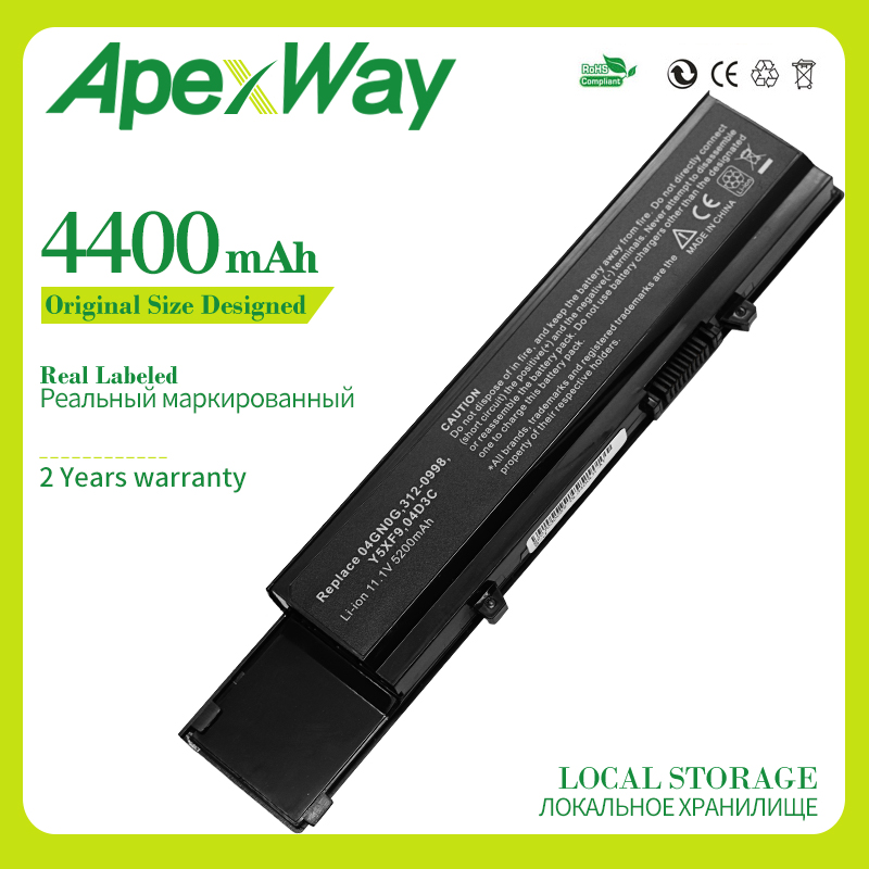 Apexway 4400mAh 6cell Laptop Battery For Dell Vostro 3400 3500 3700 04D3C 04GN0G 0TXWRR 0TY3P4 312-0997 4JK6R 7FJ92 CYDWV Y5XF9