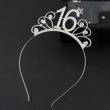 Sweet 16 Birthday Crown Rhinestone Tiara Headband for Girl Hair Accessories 16th
