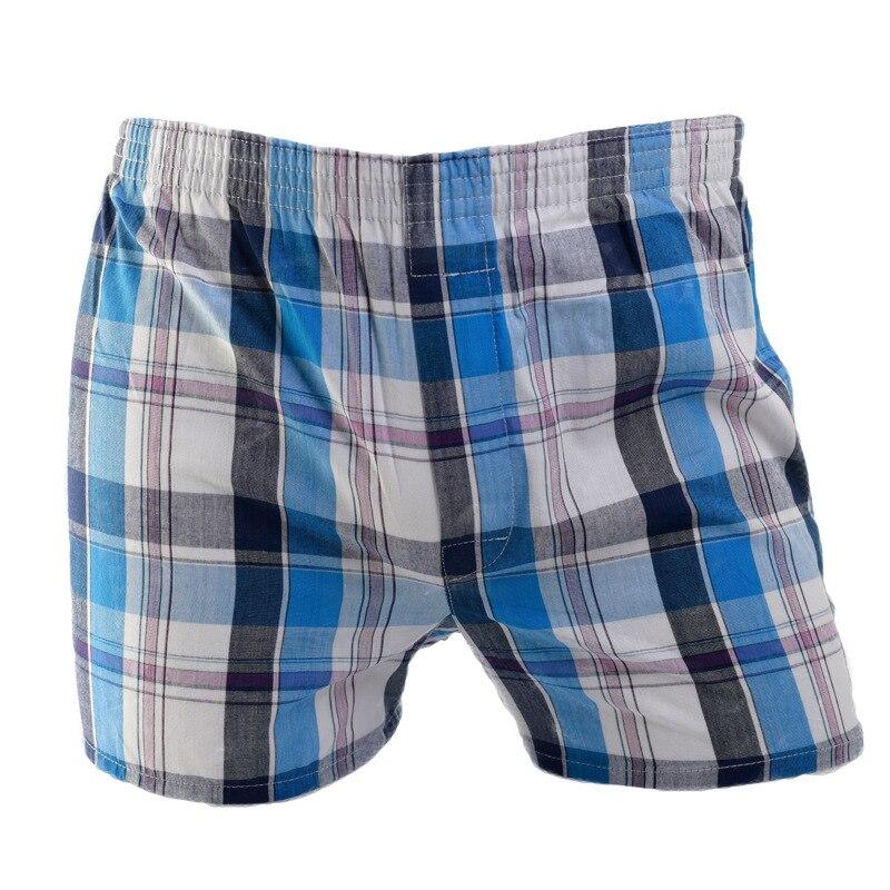 Plus Size Male Underwear Plaid Breeches Woven Boxer Cotton Man Breathable Shorts Men's Boxers Family Underpants Men