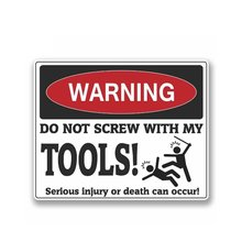 Funny warning sign do not screw with box mechanic biker personalitysticker