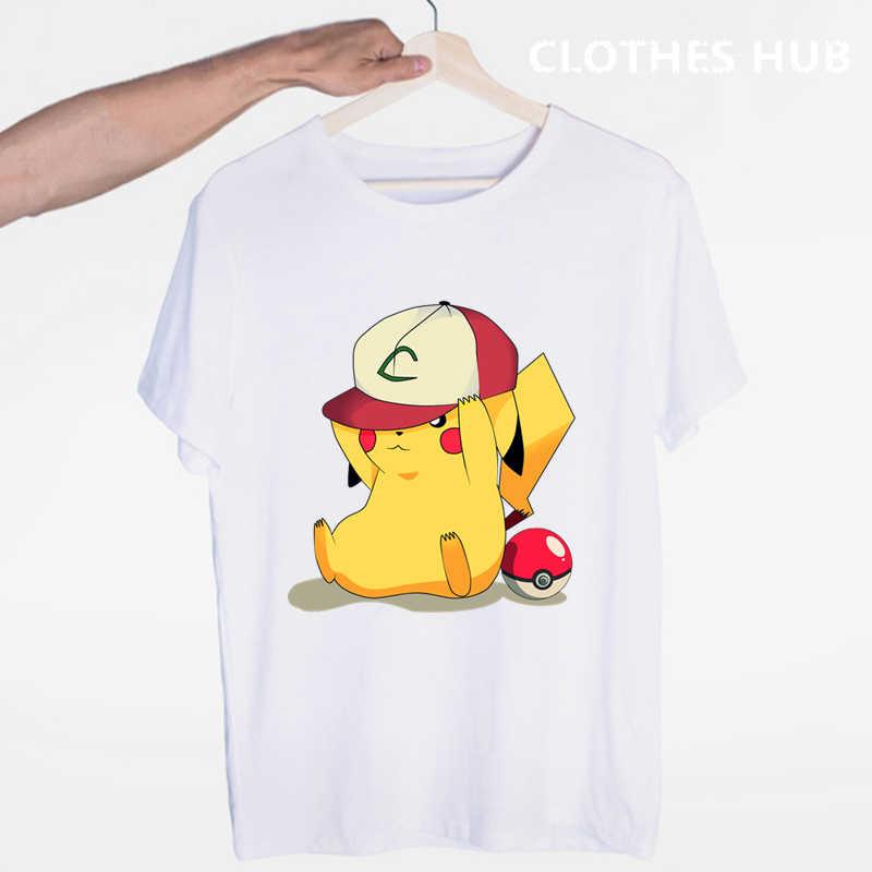 Pokemon Go Men camiseta moda Pikachu tapas Pikachu impreso Harajuku Hiphop Camisetas manga corta Hipster Comics tee