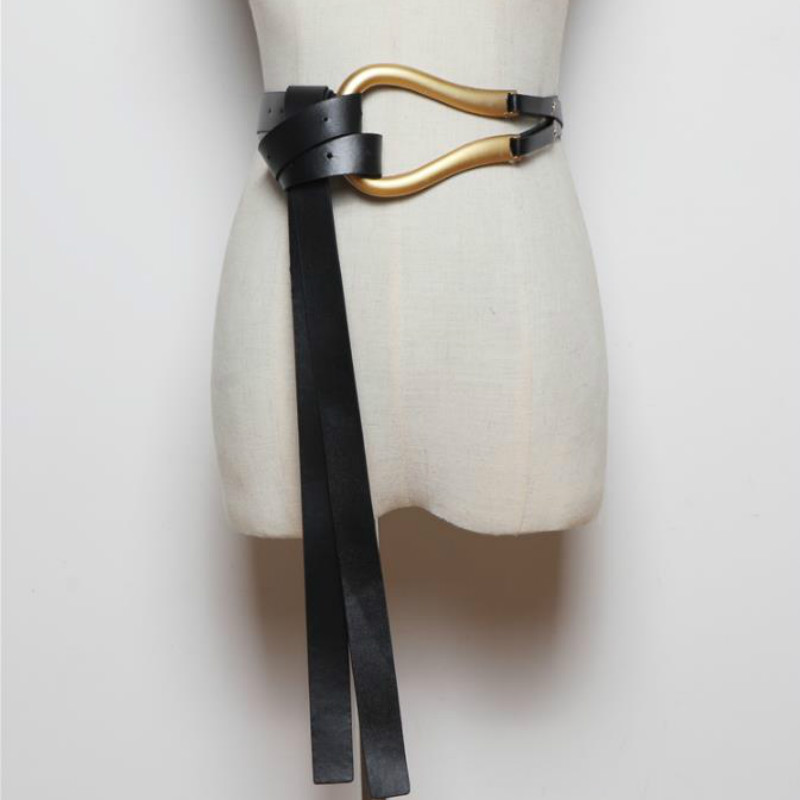 Luxury Brand Newest Fashion U shaped Soft Faux Leather Belts Personality Double Layer Waistbands Shirt Knotted Belt Long Straps