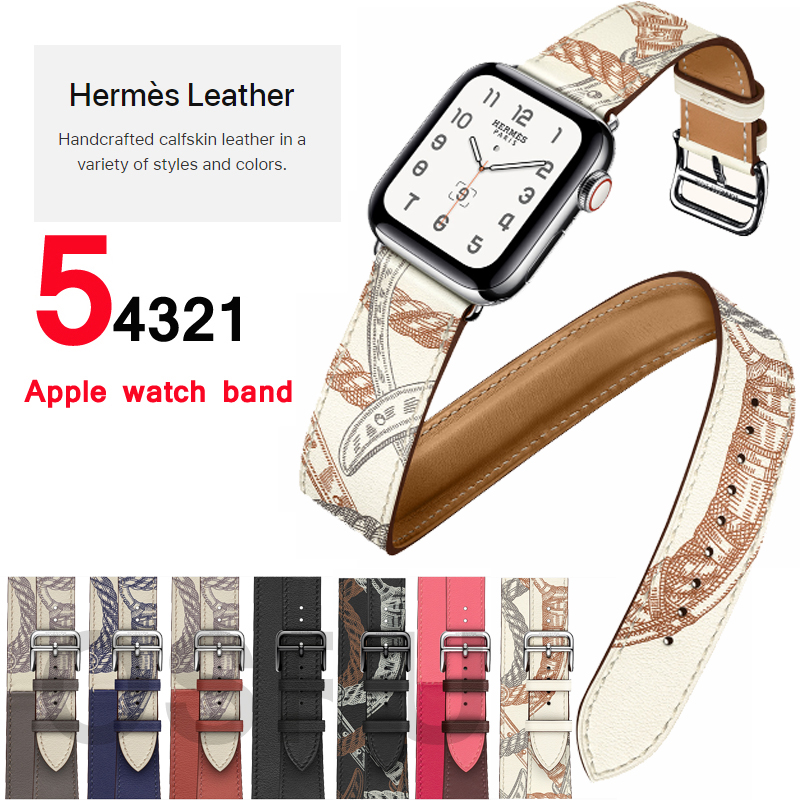 Strap For Apple Watch Band 5 4 44mm 40mm Double Tour Genuine Leather Correa Iwatch 3 2 42mm 38mm Bracelet Aple Watch Accessories