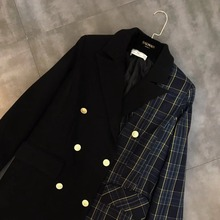 Contrast Color Plaid Patchwork Double-breasted Wool Turn Down Collar Woolen Coat Woman Winter Coat