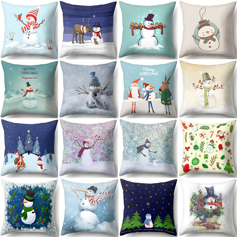 Snowman Christmas Cushion Cover Polyester Decorative Throw Pillow New Year Xmas Decor Sofa Living Room Home Decoration 40543