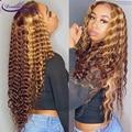 Омбре зеленый цвет кружева фронта парики Волнистые 180% бразильские Реми человеческие волосы парики предварительно отобранные волосы линии ...