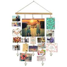 Wood Golden Chain With Crystal Pendant 16x29 Inch Photo Display Picture Frame Collage Multi Photo Display With 20 Clips(China)