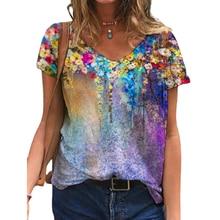 Oversized 5xl senhoras topos feminino plus size floral 3d impressão t camisa solta com decote em v manga curta casual t topo novo streetwear verão