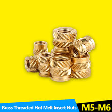 Heat Set Insert Nuts Female Pressed Fit into Holes for 3D Printing Thread Brass Knurled Inserts Nut Embed Parts M5 M6 20Pcs