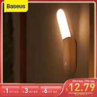 Baseus-luz magnética para pasillo, luz nocturna de emergencia para cabecera, armario, escaleras, con USB, en forma de luz LED con Sensor de movimiento Y PIR, 0,5 W
