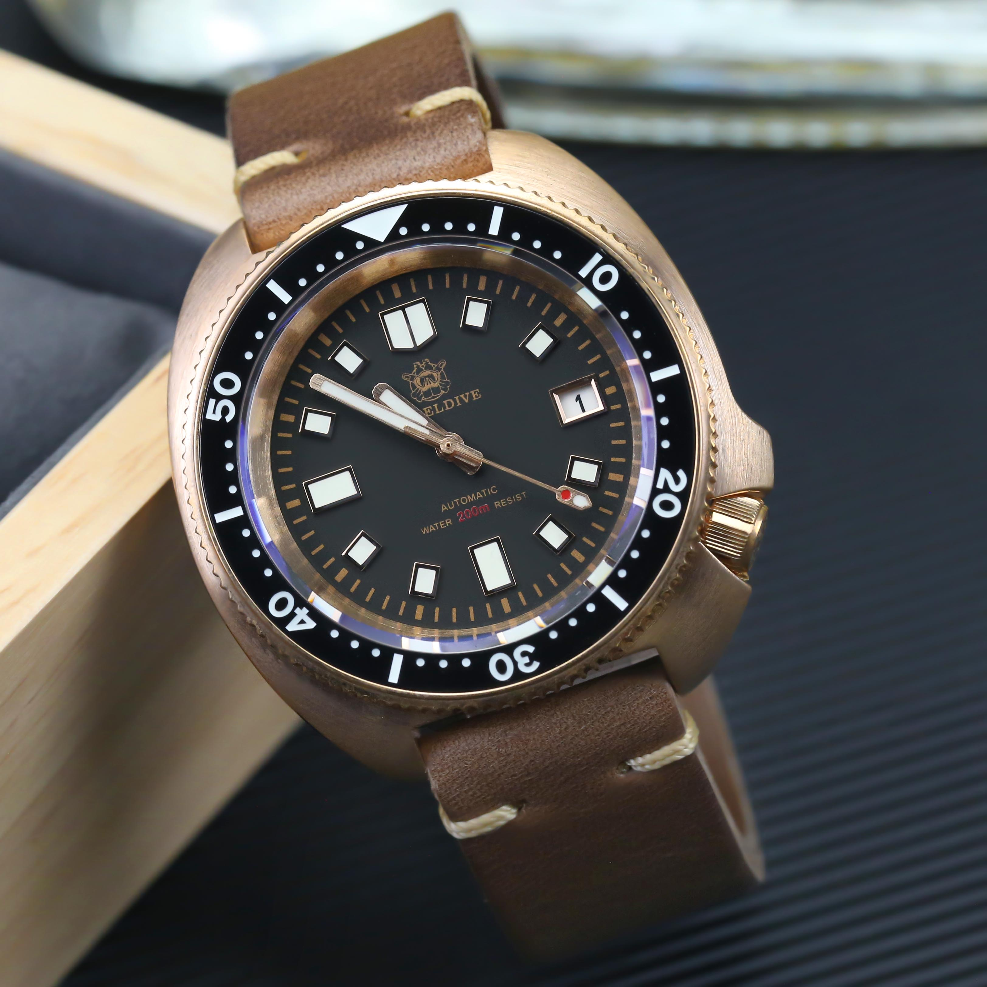 STEELDIVE 1970S Bronze Diving Watch 2020 New Arrival Abalone Bronze Mechanical Watch Automatic Sapphire Crystal NH35A Watch Dive