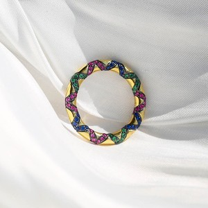 Image 2 - Sljely Mode Pure 925 Sterling Zilveren Sieraden Geel Goud Kleur Multicolor Zirkoon Kruisen Tribal Finger Ring Mana Collection