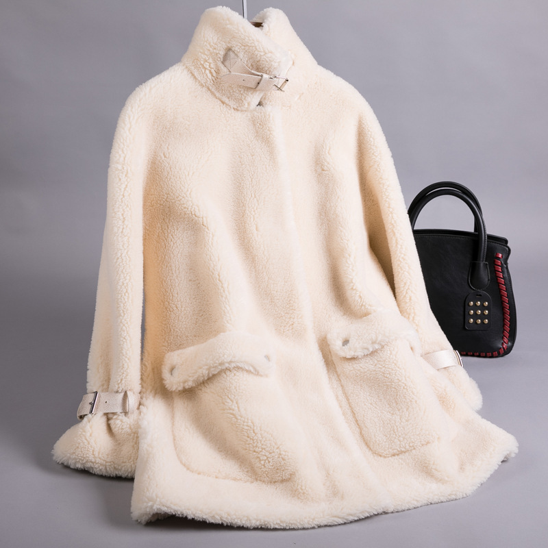 Shearling Sheep Real Fur Coat Winter Jacket Women Real Wool Coat Female Jacket Korean Long Coats Manteau Femme FR0815 S