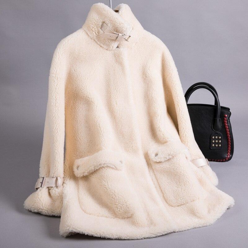 Shearling Sheep Real Fur Coat Winter Jacket Women Real Wool Coat Female Jacket Korean Long Coats Manteau Femme FR0815 S