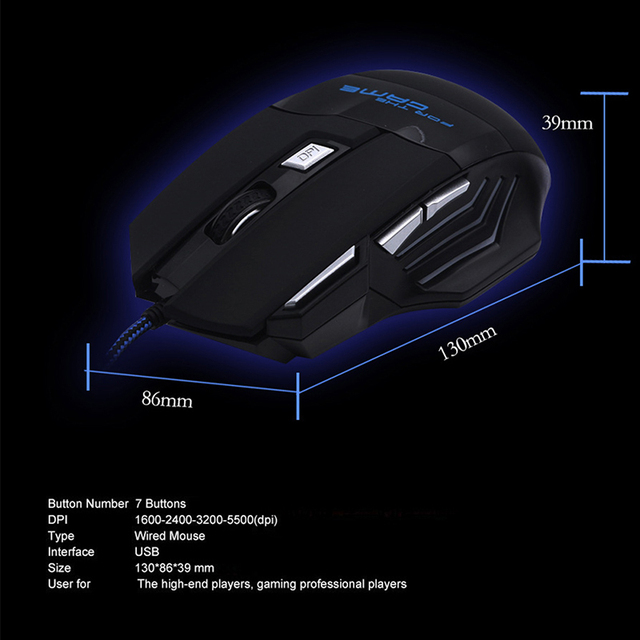 New H7 Gaming Mouse Wired 7 Buttons 5500 DPI Esports RGB Backlit Slient Mouse Professional Optical Office Mouse for PC Laptop 2