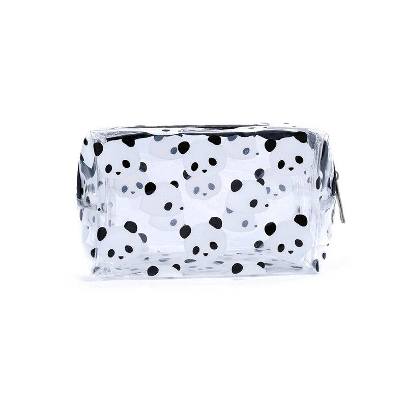 2019 Newest Creative Panda PVC Makeup Bag Waterproof Cute Clear Transparent Travel Makeup Cosmetic Toiletry Zipper Bag Pouch