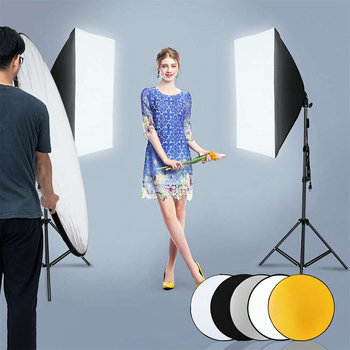"135W Bulb 5070 Single Head Soft Light Box Two Lights Set US Plug with 43"" 110cm Five-in-One Folding Reflector Set"