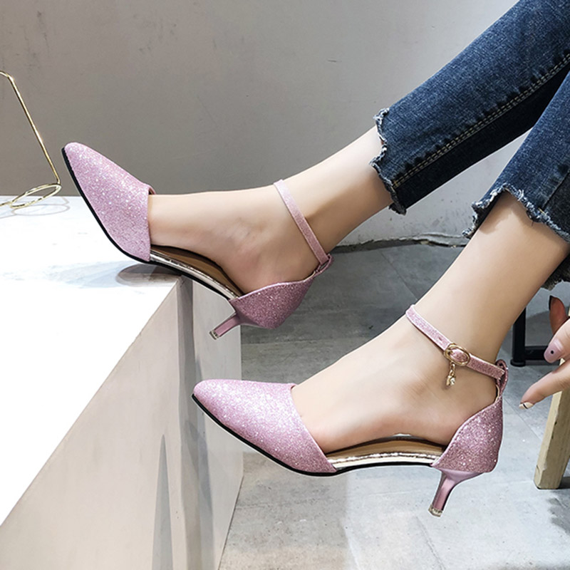 Summer Women Sandals Ankle Strap Pumps Bling Wedding Shoes Silver
