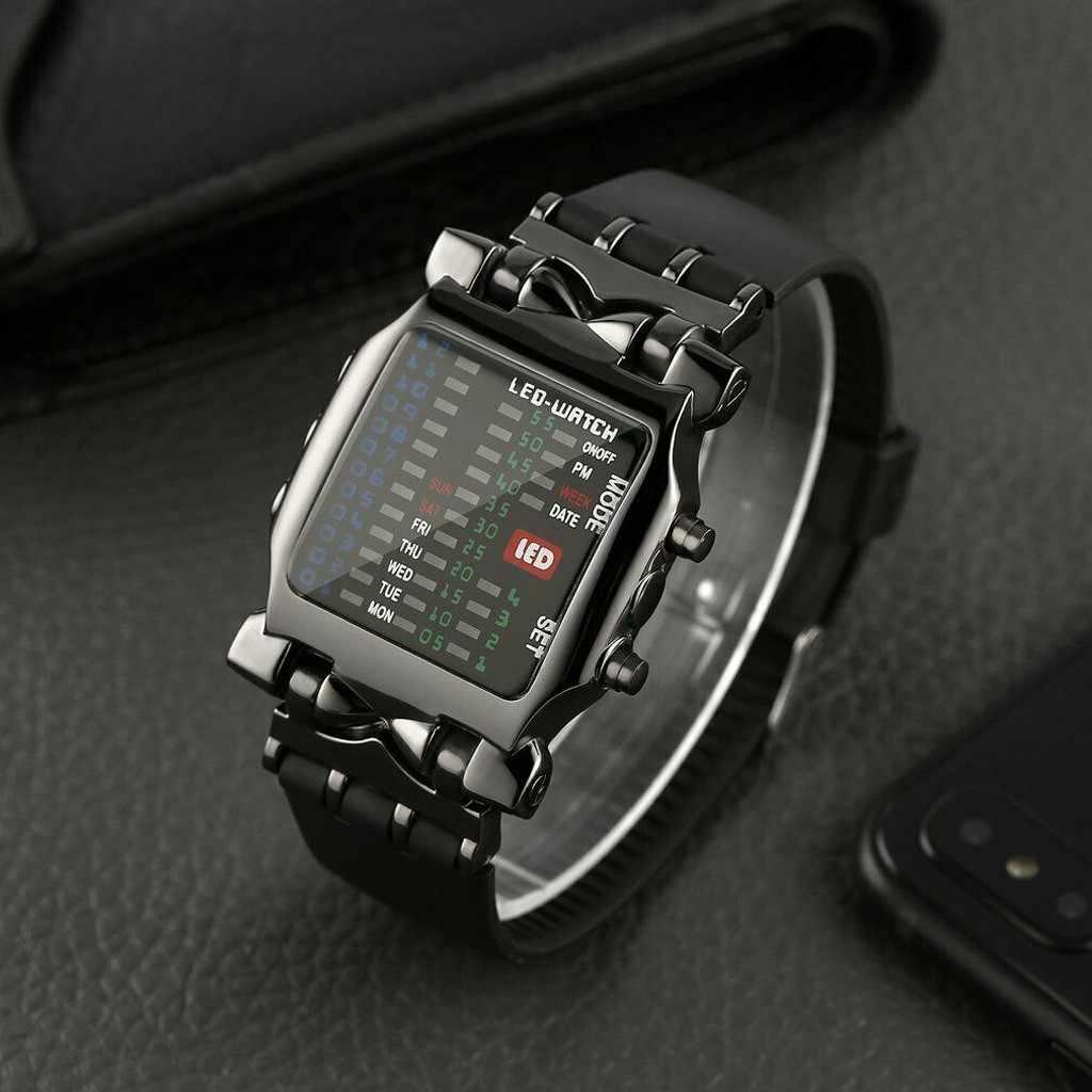 시계 스포츠 군사 럭셔리 남성 스퀘어 스타일 멋진 다채로운 LED 디지털 시계 이진 시계 relogio 디지털 бинарные часы мужские