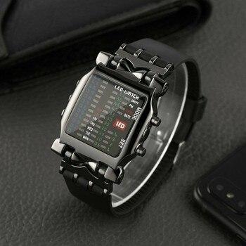 Watch Sport Military Luxury Mens Square Style Cool Colorful LED Digital Watch Binary Watch Relogio Digital бинарные часы мужские