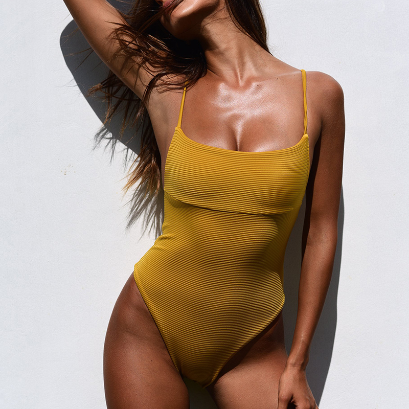 New Ribbed Swimwear 2019 Solid Bandeau Bodysuits Summer One-Piece Swimsuit Women Bathers Push Up Bathing Suit Monokini