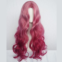 Long Red Wavy Wig Natural Hair Part Synthetic Wigs