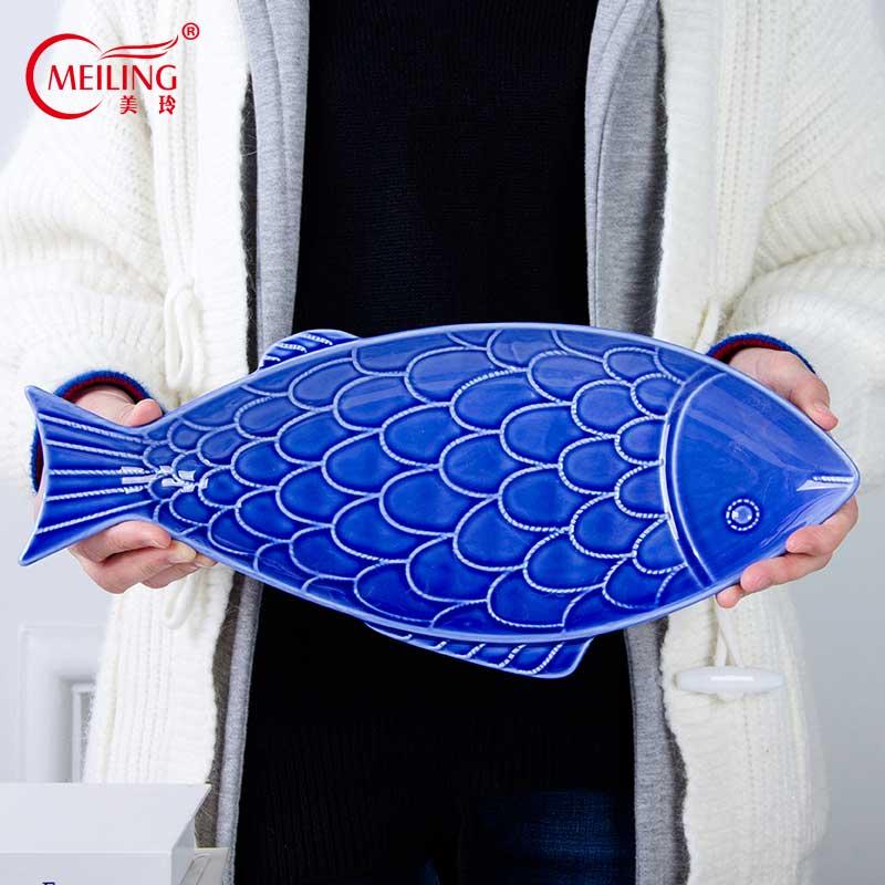Grande assiette à poisson en céramique de 15 pouces | Grand plateau de service bleu, assiette à dîner, accessoires de cuisine de Restaurant, grandes assiettes à Sushi faites à la main