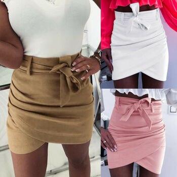 2019 Autumn Fashion Womens Mini Skirts Sexy Bandage Clubwear High Waist Pencil Bodycon Cross Skirt White Pink Khaki S-XL 5
