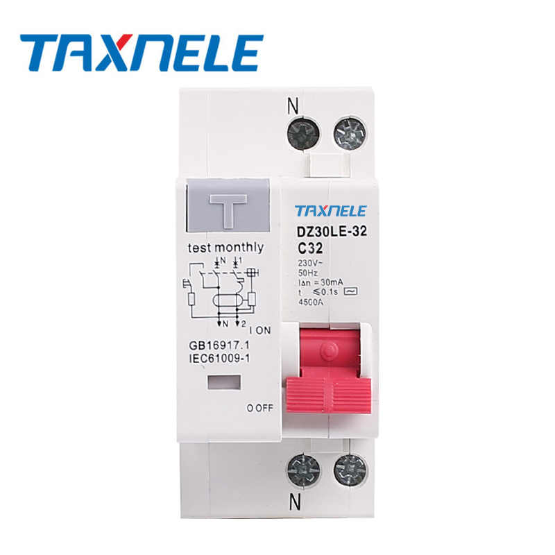 DZ30LE-32 DPNL 230V 1P+N Residual current Leakage Circuit breaker with over and short current Leakage protection RCBO MCB