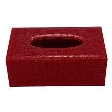 Прочный домашний Автомобиль прямоугольник из искусственной кожи коробка ткани бумажный держатель чехол Обложка Салфетка(красный крокодил зерна