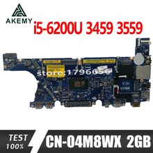 Akemy CN-04M8WX 04M8WX 4M8WX mainboard For Dell Inspiron 3459 3559 laptop motherboard i5-6200U 2GB Video card 100% test work(China)
