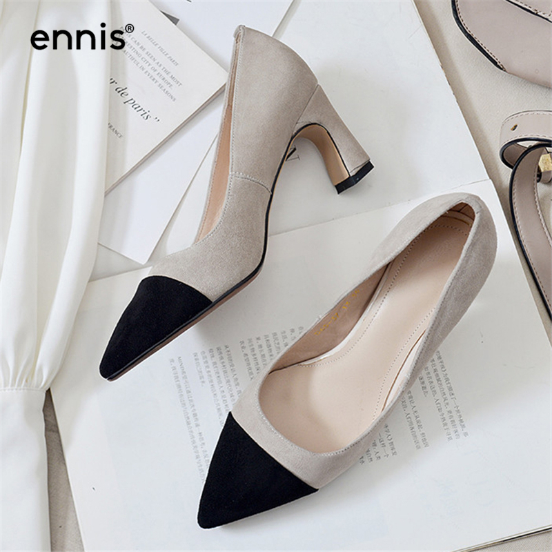 ENNIS Brand Pumps Women High Heel Pumps Pointed Shoes Spring Genuine Suede Leather Pumps Classic Mixed Color Fashion Heels P0002