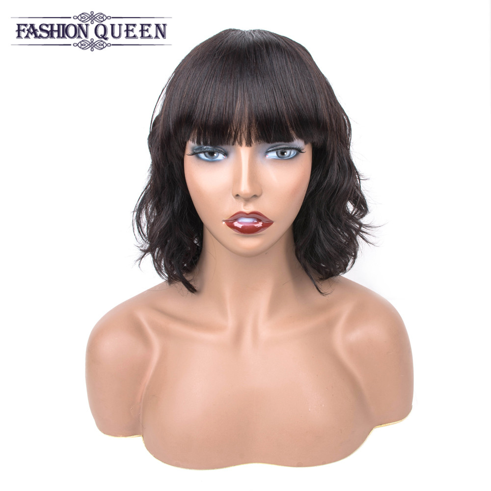 Human Hair Wigs Machine Made Wig With Bangs Peruvian Loose Wave Wig Peruvian Non Remy Hair For Black Women Fashion Queen