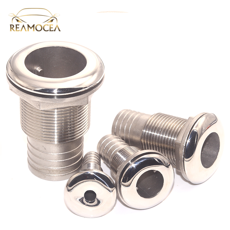 Reamocea 316 Stainless Steel Accessories Corrosion Resistance Boat Thru Hull Fitting Outlet Drain Joint For 1/2