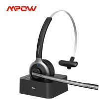 Mpow M5 Pro Bluetooth 5.0 Hoofdtelefoon Met Mic Charging Base Draadloze Headset Voor Pc Laptop Call Center Office 18H praten Tijd