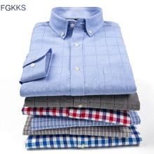 FGKKS ビジネス男性ドレスシャツ長袖固体メンズワークシャツファッションスクエア襟カジュアル男性トップスドレスシャツ