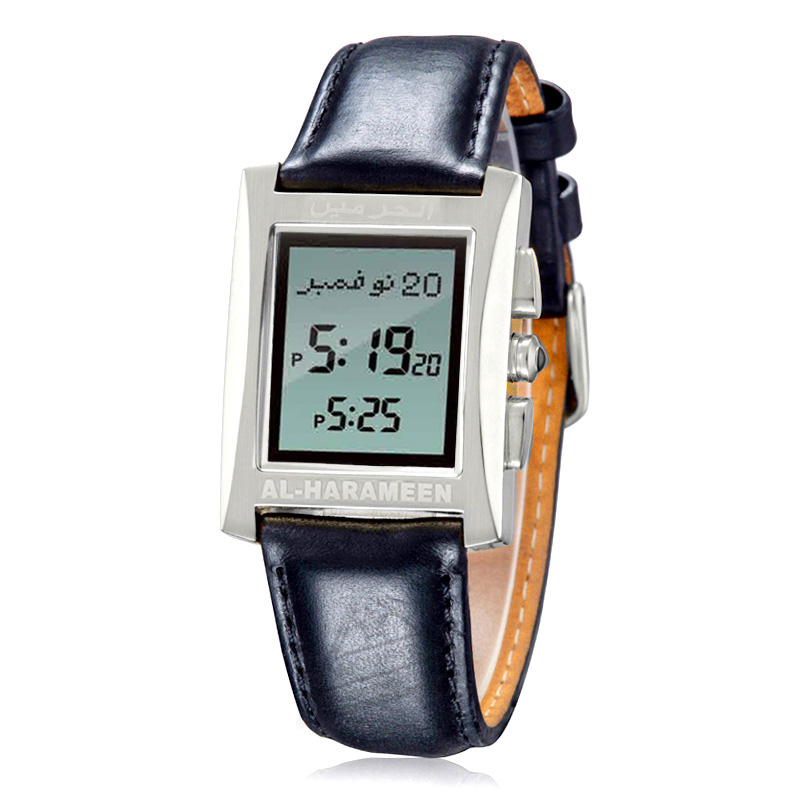Prayer Watch for Muslim with Azan Time Qibla Compass Water Resistant Genuine Leather Stainless Islam Al Harameen Fajr Clock